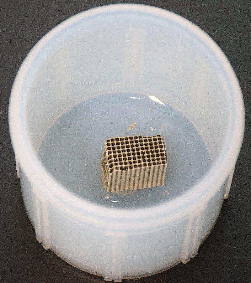 電子レンジに入れるため小さくカットされた触媒