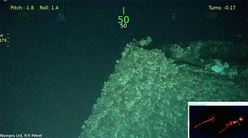 ポール・アレン氏の探査チームがフィリピン沖の海底で発見した旧日本海軍の戦艦「山城」とみられる船体の一部(Photo courtesy of Paul G.Allen)(時事)