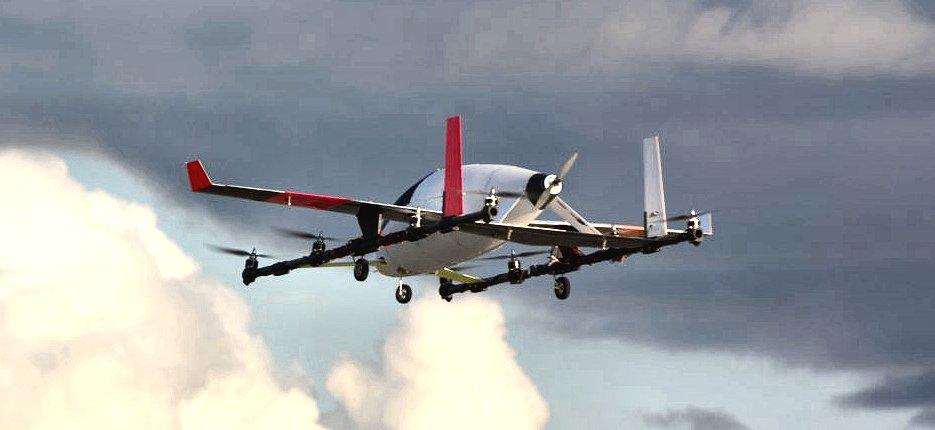 垂直離発着が可能な2人乗りの無人機「eVTOL」(Karen Dillon for Aurora Flight Sciences)