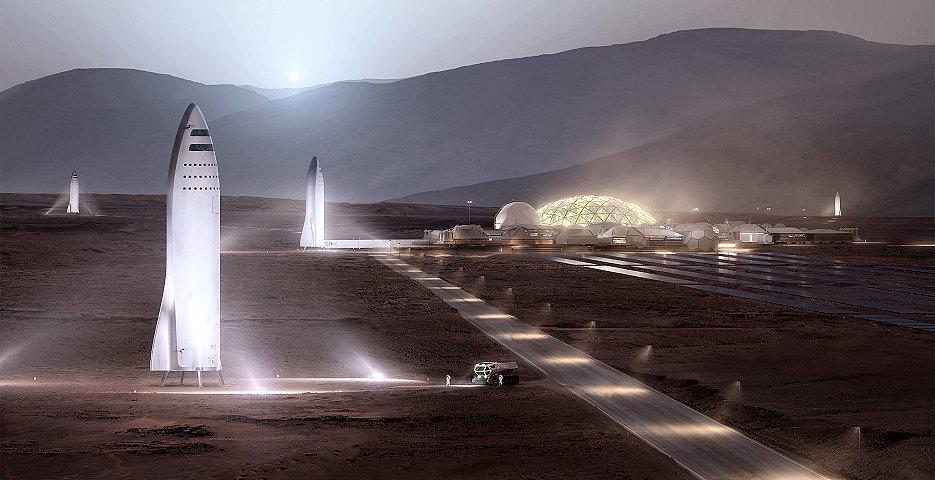 火星探査ビッグ・ファルコン・ロケット(BFR)構想イメージ(提供:スペースX)